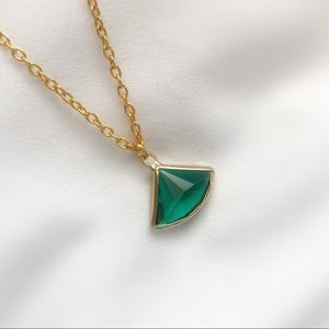 Jewelry - Triangle Emerald Necklace with Gold Chain